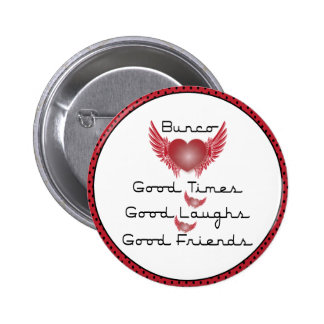 Bunco - Good Times, Laughs, Friends - Retro Heart 2 Inch Round Button