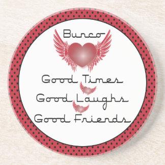 Bunco - Good Times, Laughs, Friends - Retro Heart Coaster