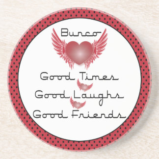 Bunco - Good Times, Laughs, Friends - Retro Heart Drink Coasters