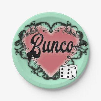 bunco heart tattoo paper plate