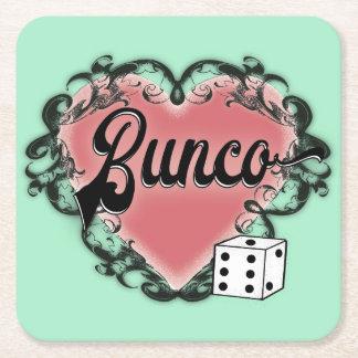 bunco heart tattoo square paper coaster
