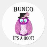 """Bunco - It's A Hoot"""" Round Sticker"""