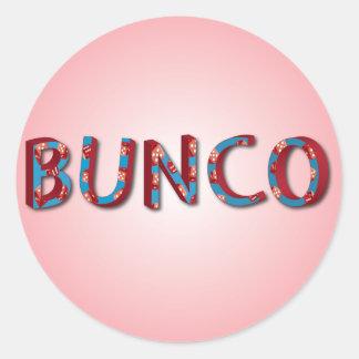 Bunco letters with bunco dice round sticker