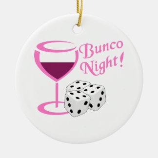 Bunco Night Round Ceramic Ornament