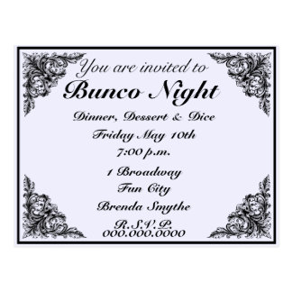 Bunco Night Vintage Victorian Invitation Postcard