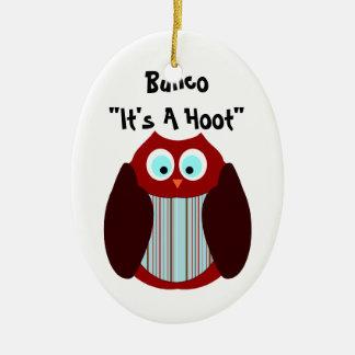 """Bunco Owl - It's A Hoot"""" Ceramic Ornament"""
