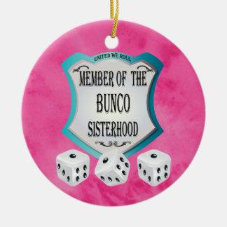 Bunco - Pink United We Roll The Dice Ceramic Ornament