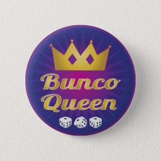 Bunco Queen Crown and Dice 2 Inch Round Button