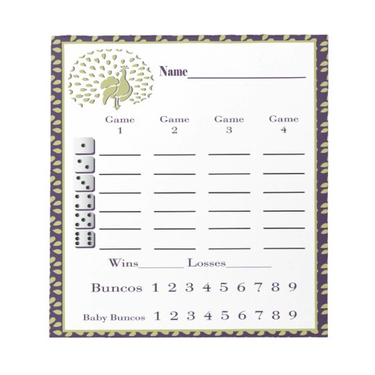 bunco score pad - bunco score sheet - peacock