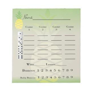 bunco score pad or score card - tropical pineapple