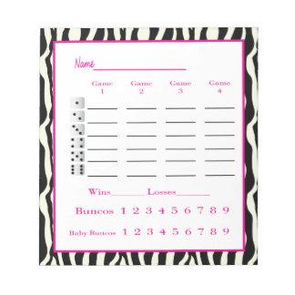 bunco score pad - zebra design