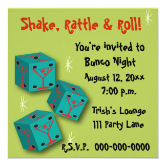 Bunco - Shake, Rattle & Roll Martini Dice Invite