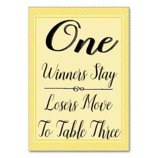 Bunco Table Card #1 - Stylish Yellow Stripe