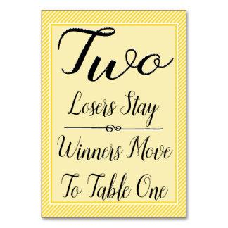 Bunco Table Card #2 - Stylish Yellow Stripe