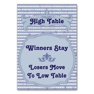 Bunco Table Card - High Table