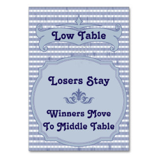 Bunco Table Card - Low Table