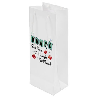 Bunco WIne Gift Retro Good Times Good Friends Wine Gift Bag