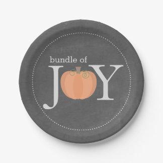 Bundle of Joy Chalkboard Pumpkin Fall Baby Shower 7 Inch Paper Plate