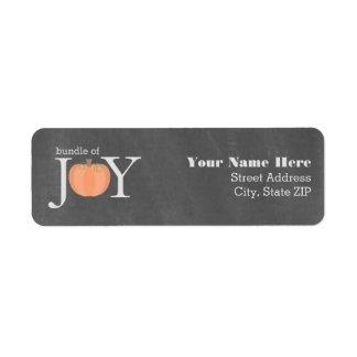 Bundle Of Joy Chalkboard Pumpkin Fall Baby Shower Return Address Label