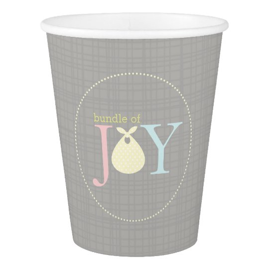Bundle of Joy Modern Neutral Baby Shower Paper Cup