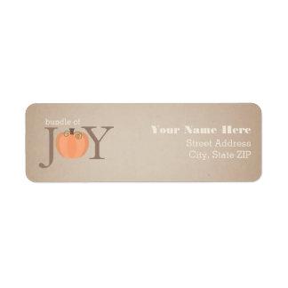 Bundle Of Joy Pumpkin Baby Shower Address Label