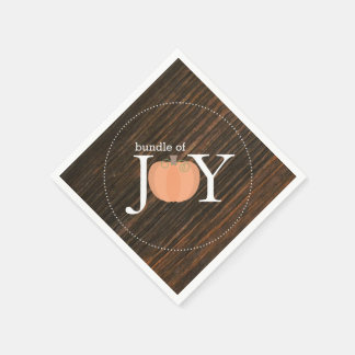 Bundle Of Joy Wood Inspired Pumpkin Baby Shower Disposable Napkins