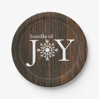 Bundle of Joy Wood Inspired Winter Baby Shower Paper Plate