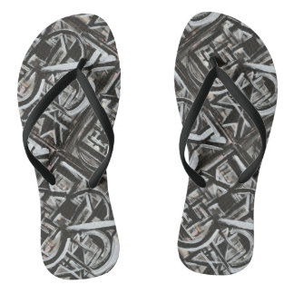 Bungalow-Hand Painted Abstract Brushstrokes Flip Flops