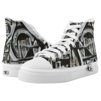 Bungalow-Hand Painted Abstract Brushstrokes High Tops