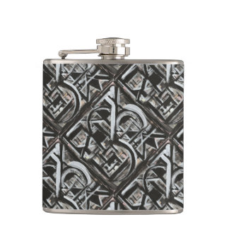 Bungalow-Hand Painted Abstract Brushstrokes Hip Flask
