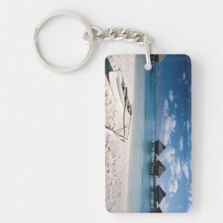 Bungalows from beach Motu Toopua Double-Sided Rectangular Acrylic Keychain