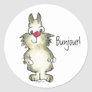 Bunjour! Cartoon Rabbit Sticker