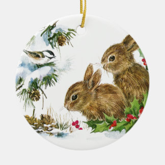 Bunnies and Bird Enjoy Snow Ceramic Ornament