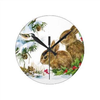 Bunnies and Bird Enjoy Snow Clock