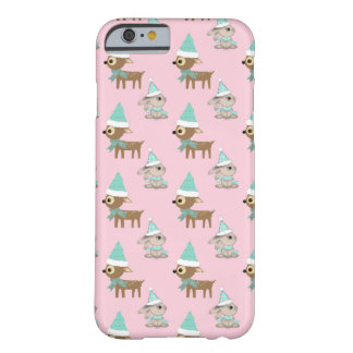 Bunnies and Reindeer over Pale Pink Holiday Art Barely There iPhone 6 Case