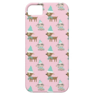 Bunnies and Reindeer over Pale Pink Holiday Art iPhone 5 Cases