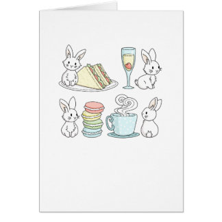 Bunnies at Afternoon Tea Card