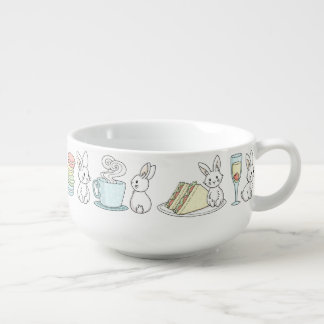 Bunnies at Afternoon Tea Soup Mug