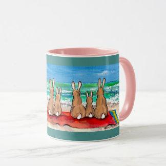 Bunnies at the Beach Pink & Teal Design Mug