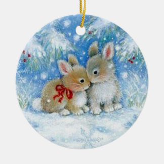 Bunnies in Love - Christmas Ornament