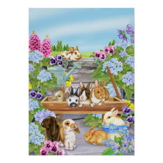 Bunnies in the Garden Poster