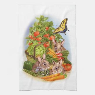Bunnies in the Vegetable Garden Kitchen Towel