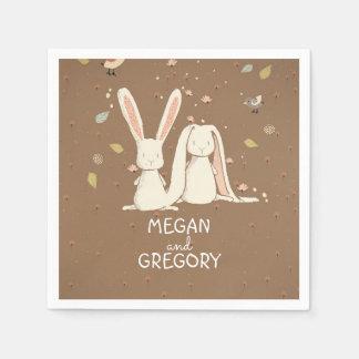 bunnies rabbit cute paper napkins