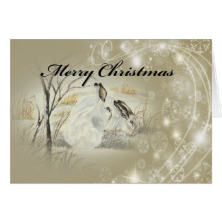 Bunnies/Rabbits Christmas Card, envelopes included Card