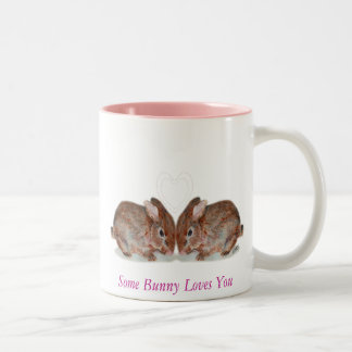 bunnies, Some Bunny Loves You Two-Tone Coffee Mug