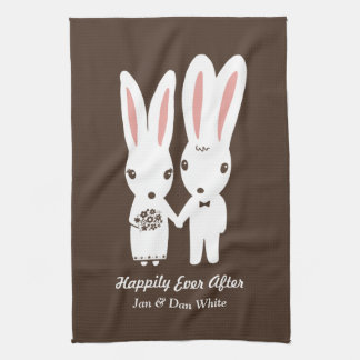 Bunnies Wedding Bride and Groom with Custom Text Kitchen Towel