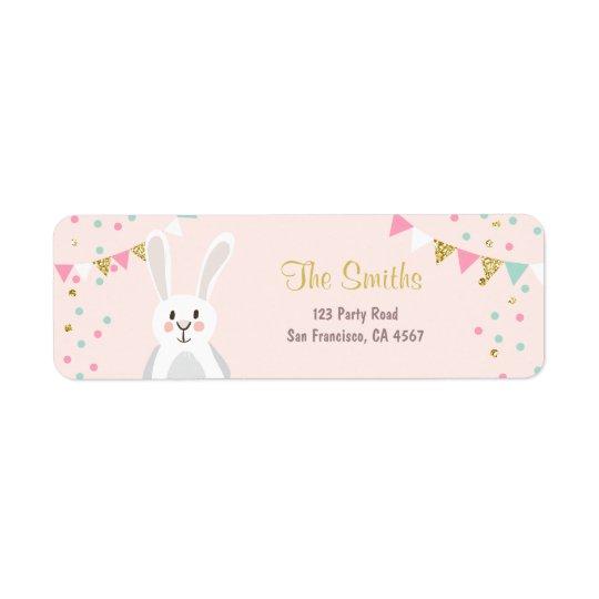 Bunny Address Labels Spring Pink Gold Easter