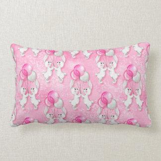 Bunny and balloons. Pink Lumbar Pillow