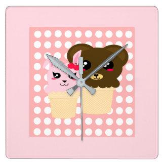 Bunny and Bear Square Wall Clock