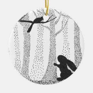 Bunny and Bird Ceramic Ornament